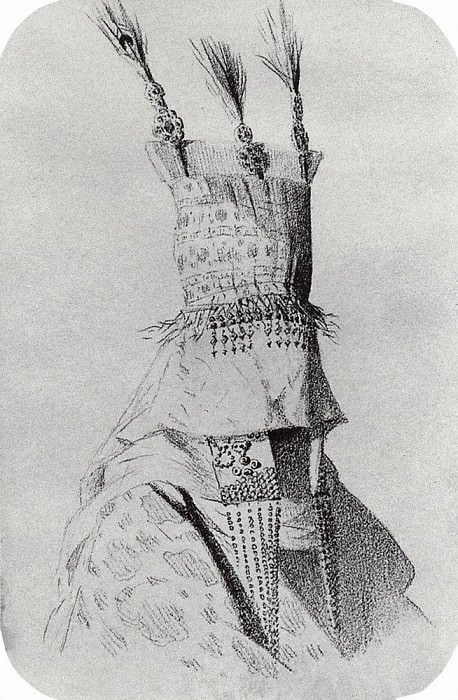 Kirghiz-bride dress with a hat covering the face. 1869-1870. Vasily Vereshchagin