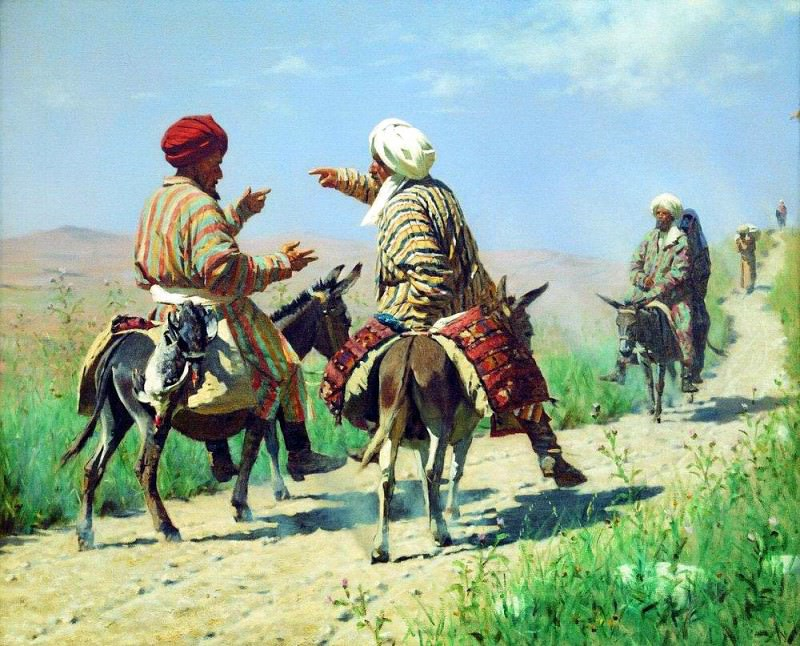Mullah Rahim and Mullah Karim on the way to the market quarrel. 1873. Vasily Vereshchagin