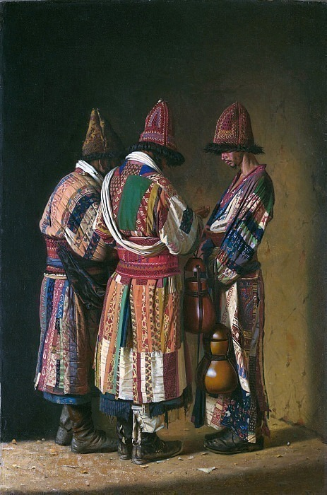 Dervishes in festive outfits. Tashkent. Vasily Vereshchagin