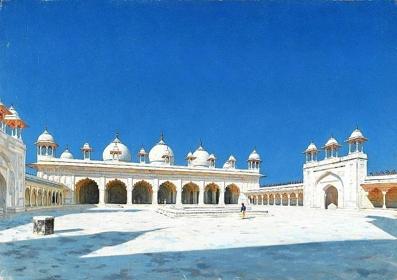 Moti Masjid (Pearl Mosque) in Agra. Vasily Vereshchagin