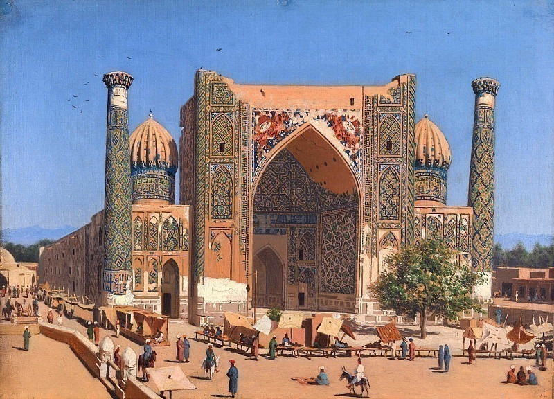 Shir-Dor Madrasah on Registan Square in Samarkand. Vasily Vereshchagin
