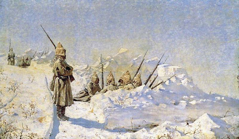 Snow trenches (Russian positions on the Shipka Pass). 1878-1881. Vasily Vereshchagin