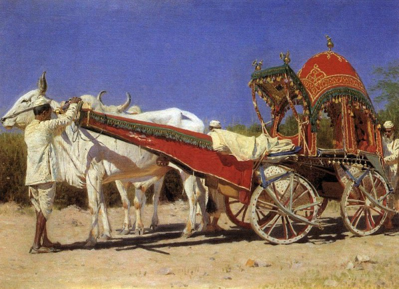 Cart rich people in Delhi. 1875. Vasily Vereshchagin
