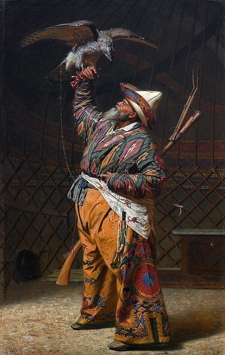 Wealthy Kyrgyz hunter with a falcon. Vasily Vereshchagin