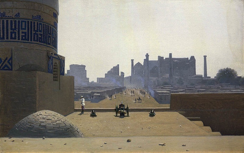 The main street in Samarkand from the height of the citadel in the early morning. Vasily Vereshchagin
