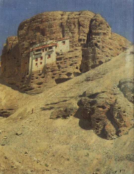 Monastery in the rock. Ladakh. 1875. Vasily Vereshchagin