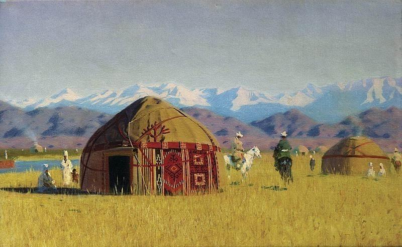 Kyrgyz cabins on the Chu River. Vasily Vereshchagin