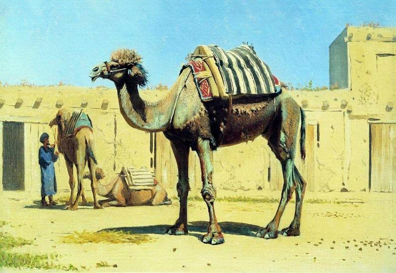 camel in the courtyard of the caravanserai. 1869-1870. Vasily Vereshchagin