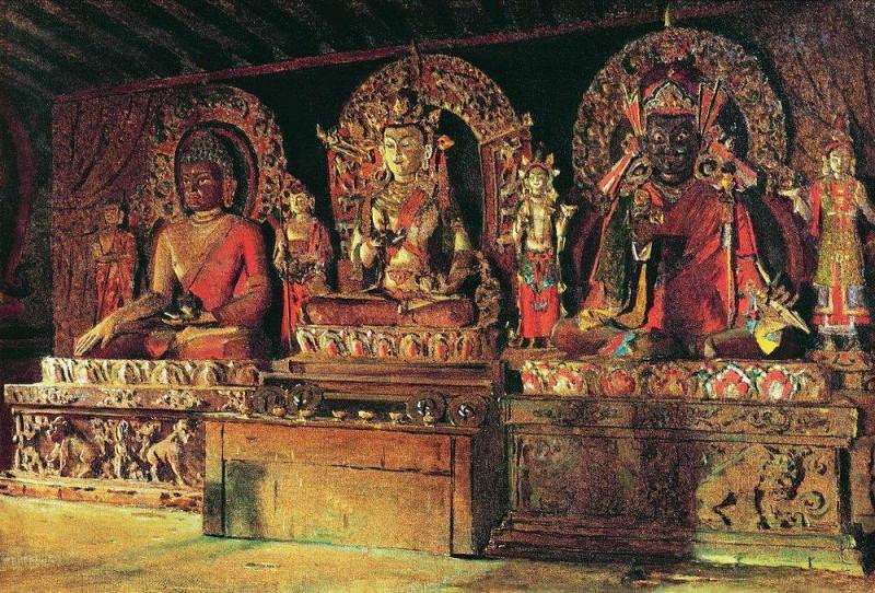 Three major deities in a Buddhist monastery in Sikkim Chingacheling. 1875. Vasily Vereshchagin