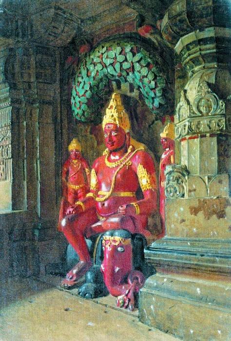 Statue of Vishnu in the temple of Indra in Ellora. 1874-1876. Vasily Vereshchagin