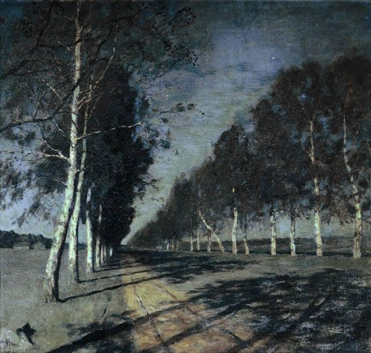 Moonlit Night. Highway. 1897-1898. Isaac Ilyich Levitan