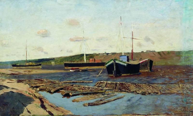 Volga. Barges. 1890. Isaac Ilyich Levitan