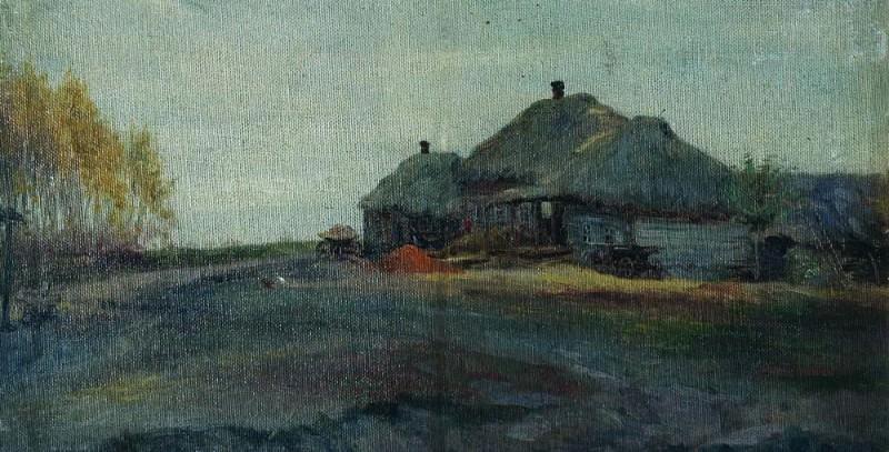 Village. Grey day. Isaac Ilyich Levitan