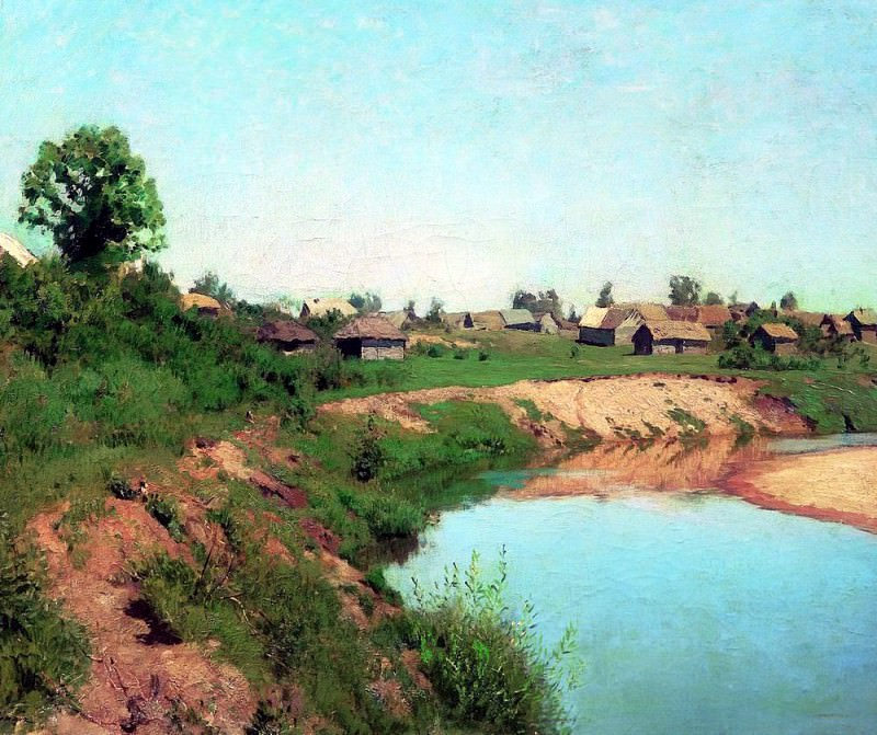 Village on the river bank. 1883. Isaac Ilyich Levitan