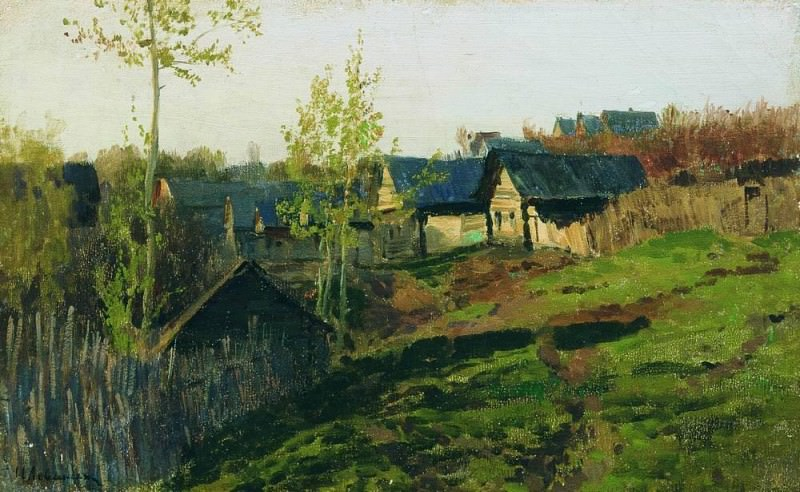 huts illuminated by the sun. 1889. Isaac Ilyich Levitan