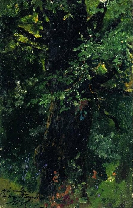 oak barrel in early summer. Isaac Ilyich Levitan
