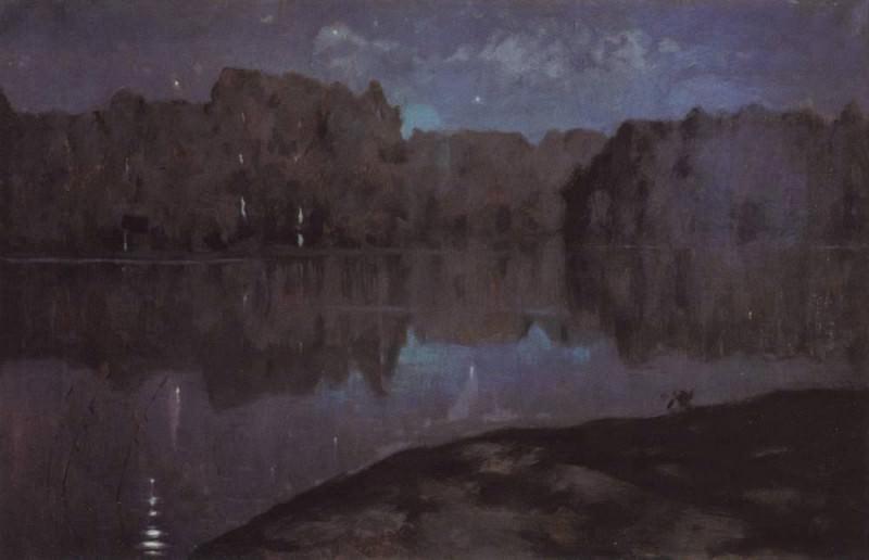 Night. Bank. End 1890. Isaac Ilyich Levitan