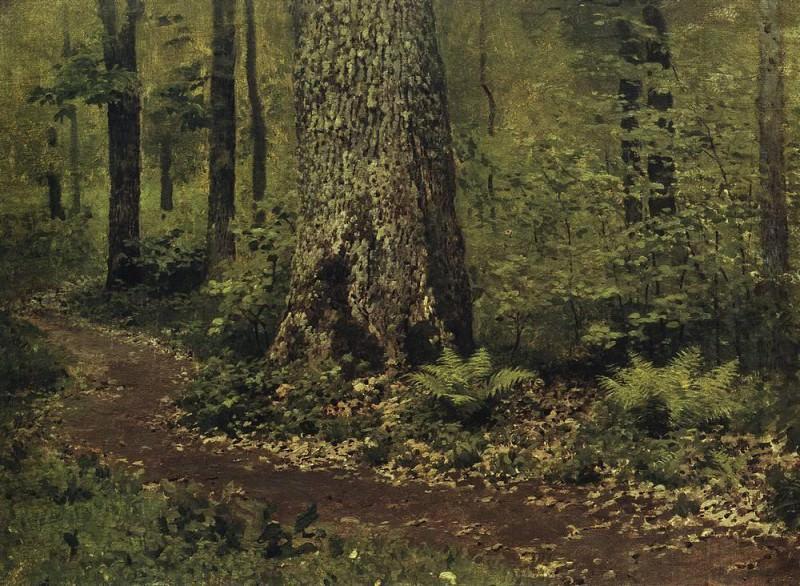 path in the deciduous forest. Ferns. Around 1895. Isaac Ilyich Levitan