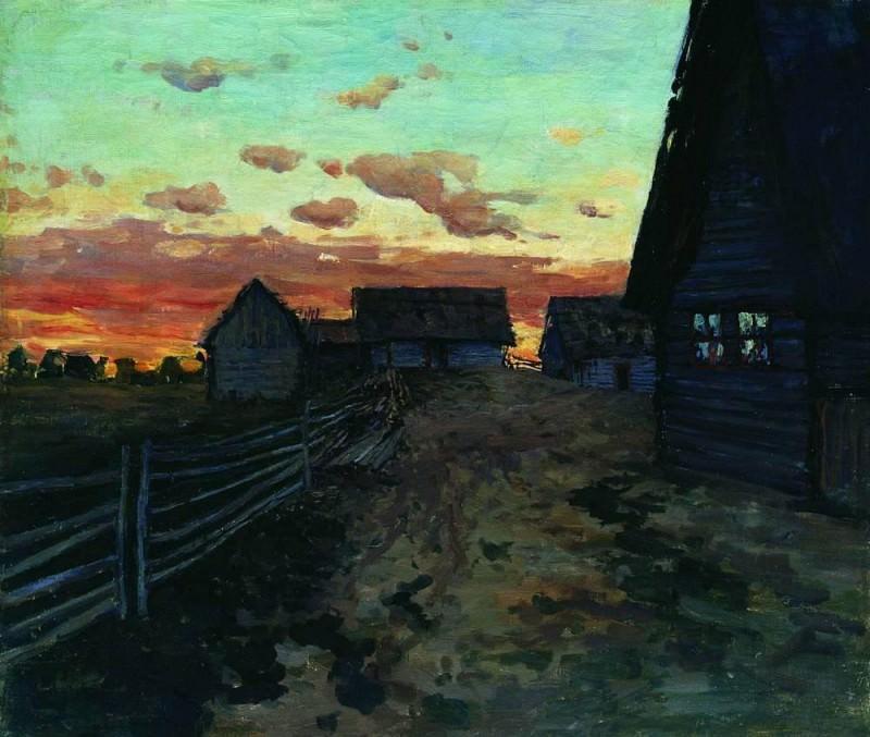 Избы. После захода солнца. 1899. Исаак Ильич Левитан