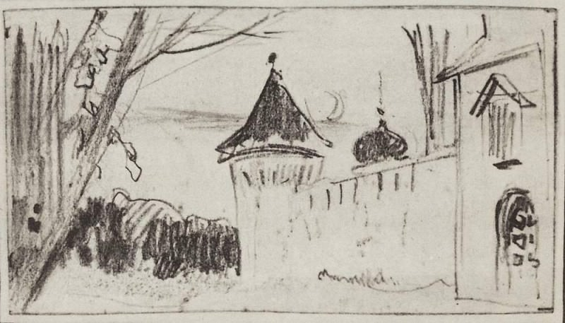 monastery gates and fence. 1885. Isaac Ilyich Levitan