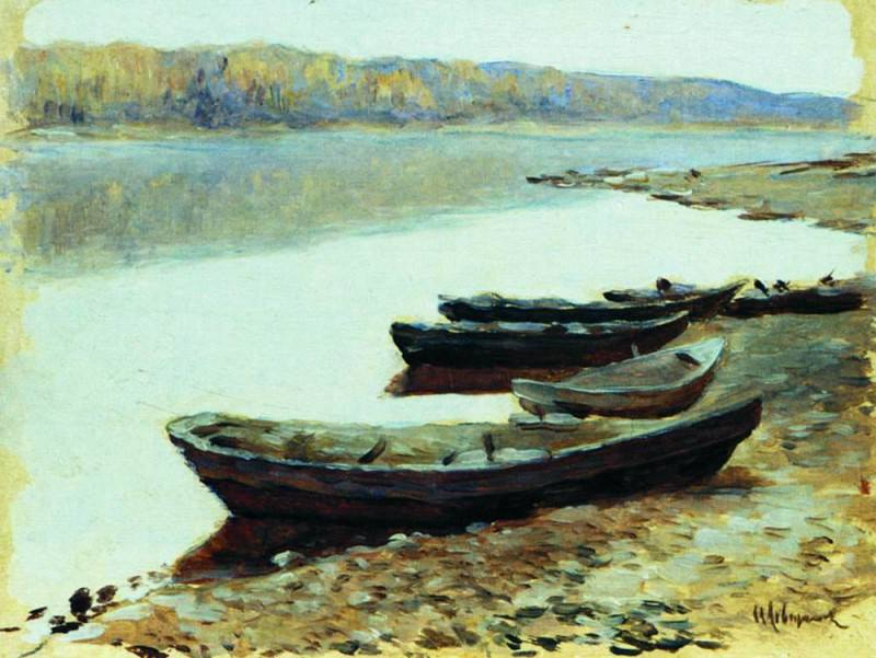 Volga landscape. Boats near the shore. 1877-1878. Isaac Ilyich Levitan