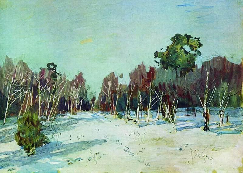 Garden in the snow. 1880. Isaac Ilyich Levitan