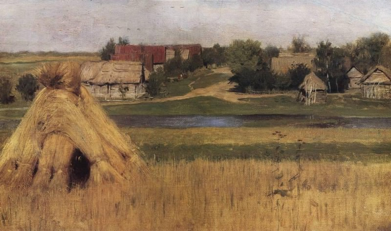 Sheaves and village by a river. Beginning 1880. Isaac Ilyich Levitan