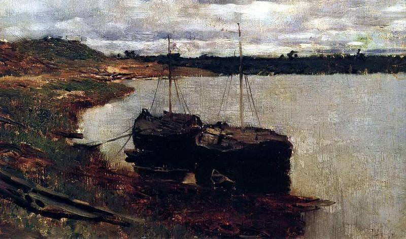 Баржи. Волга. 1889. Исаак Ильич Левитан