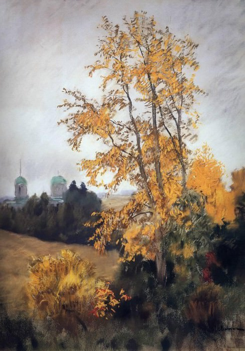 Autumn landscape with a church. 1890. Isaac Ilyich Levitan