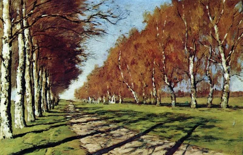 Most road. Sunny autumn day. 1897. Isaac Ilyich Levitan