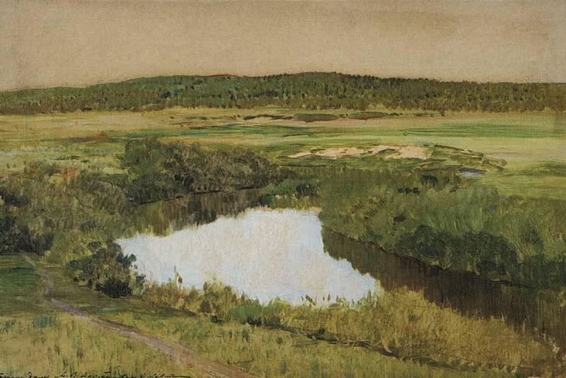 By evening. Istra River. 1885. Isaac Ilyich Levitan