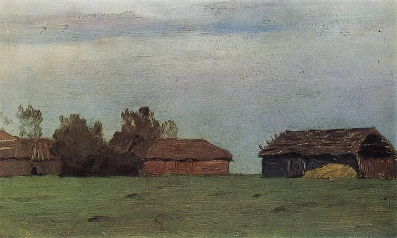 Landscape with buildings. 1890. Isaac Ilyich Levitan