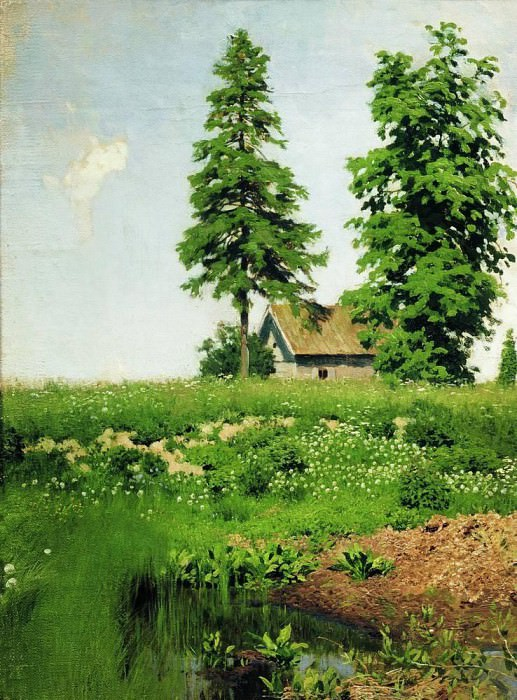 hut on a meadow. 1880. Isaac Ilyich Levitan