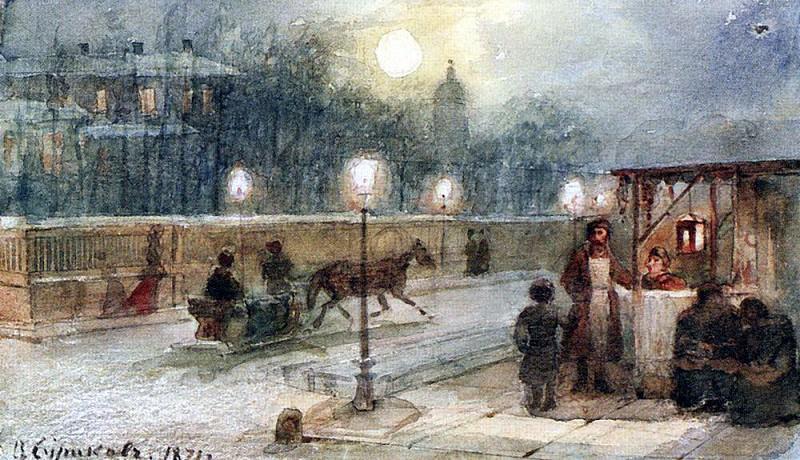 Вечер в Петербурге. 1871. Василий Иванович Суриков
