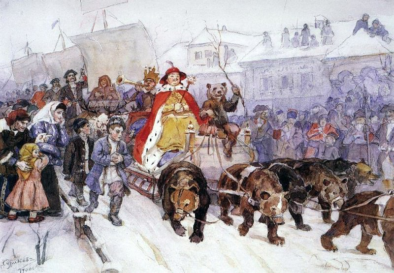 Large masquerade in 1722 on the streets of Moscow with the participation of Peter I and Romodanovsky JF Romodanovsky. 1900. Vasily Ivanovich Surikov