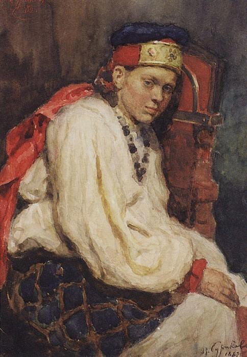 Натурщица в старинном русском костюме. 1882. Василий Иванович Суриков