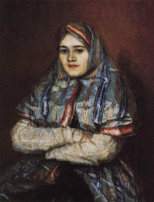 City Girl. Portrait of Alexandra Ivanovna Emelianova, nee Schrader. 1902. Vasily Ivanovich Surikov
