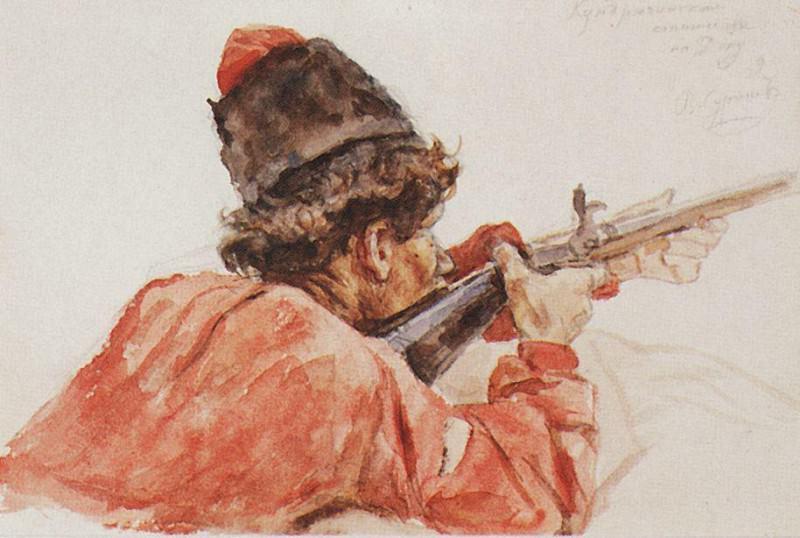 Shooting Cossack. 1893. Vasily Ivanovich Surikov