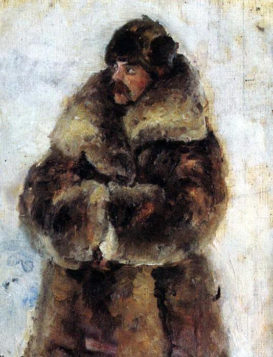A. Surikov in a fur coat. 1889-1890. Vasily Ivanovich Surikov
