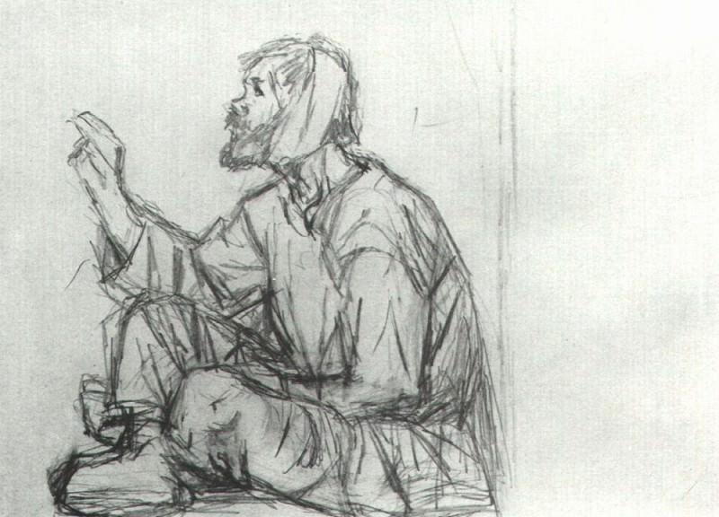 Юродивый, сидящий на земле. Василий Иванович Суриков