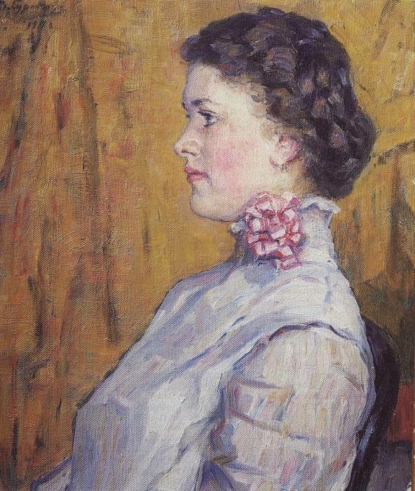 Portrait of an unknown on a yellow background. 1911. Vasily Ivanovich Surikov