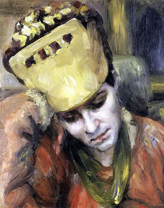 Portrait of a young woman in a headdress. 1892. Vasily Ivanovich Surikov