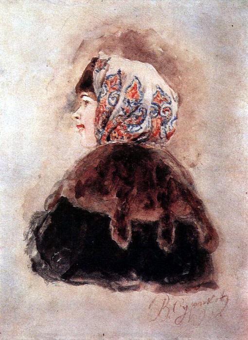 Голова боярышни. 1890. Василий Иванович Суриков