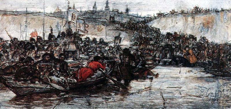 Покорение Сибири Ермаком 1. Около 1891. Василий Иванович Суриков
