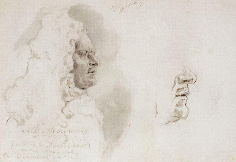 Голова Меншикова в профиль. Нижняя часть лица. 1882. Василий Иванович Суриков
