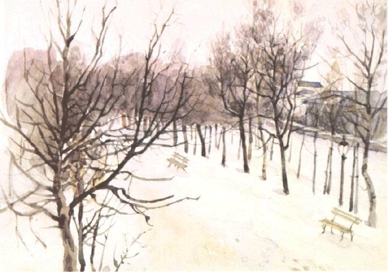 Zubovskiy Boulevard winter. 1880-1882. Vasily Ivanovich Surikov