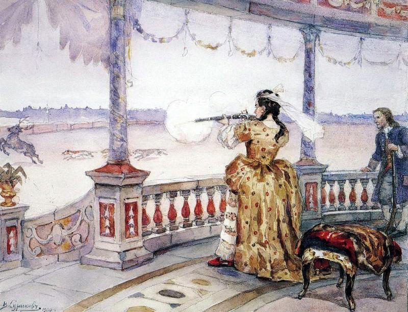 Императрица Анна Иоанновна в петергофском Тампле стреляет оленей. 1900. Василий Иванович Суриков