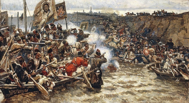 The conquest of Siberia by Ermak. Vasily Ivanovich Surikov