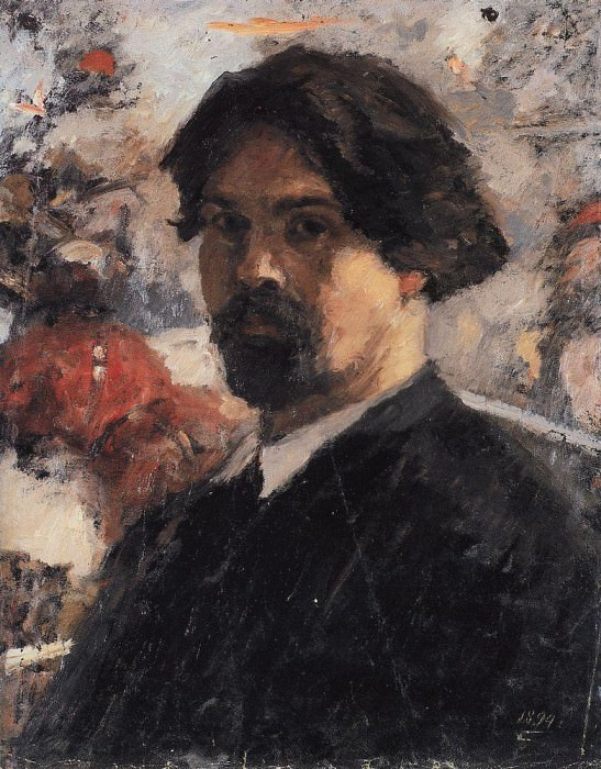 Self-portrait on the background of the painting The Conquest of Siberia by Yermak. 1894. Vasily Ivanovich Surikov