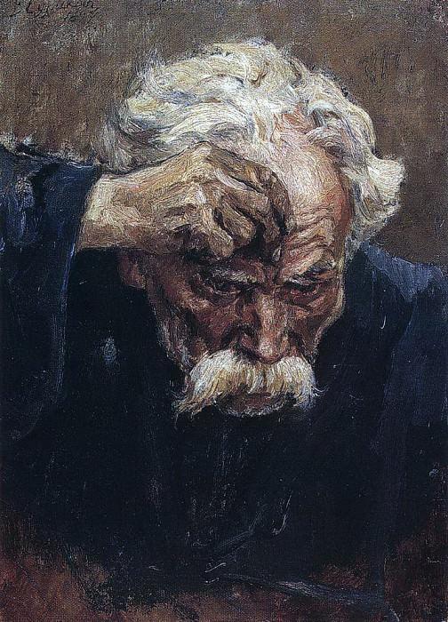 Голова крестящегося солдата. 1897. Василий Иванович Суриков